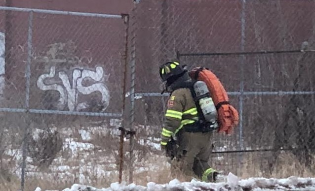 A firefighter at former Holmes Foundry site Feb 1, 2021 (Photo courtesy of Greg Grimes)