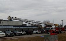 Leamington Fire crews on scene of a roof fire at ElringKlinger Canada, March 11, 2021. Photo courtesy Fire Chief Andrew Baird/Twitter.