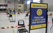 The mass vaccination clinic at the Libro Credit Union Centre in Amherstburg, March 29, 2021. (Photo by Maureen Revait)