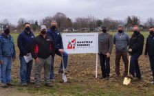 Groundbreaking for Wanstead Grain Expansion in Alvinston. From left to right: Norm Minielly (Treasurer), Dave Minielly (Director), Gord Book (Branch Manager), Jamie Duncan (Director), Martin Gerrits (President), Mayor Dave Ferguson (Municipality of Brooke-Alvinston), Rick Patterson (Director), Peter Kelly (General Manager), Garry Straatman (Treasurer), Nathan Ikert (Director), Absent Tim Packet (Director). Mar. 29, 2021 (Submitted photo)