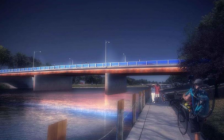 Image of the proposed rehabilitation of Third Street Bridge with LED lighting observed from the riverfront walkway (Photo via the Municipality of Chatham-Kent)