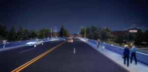Image of the proposed rehabilitation of the Third Street Bridge over the Thames River with LED lighting observed from a driving perspective (Photo via the Municipality of Chatham-Kent)