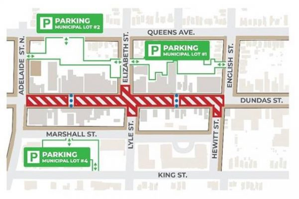 The location of the construction project on Dundas Street between Adelaide Street North and English Street (Photo via the City of London)