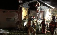 Firefighters in Essex work to overhaul a mobile home after it caught fire. March 2, 2021. (Photo courtesy of @EssexON_Fire on Twitter.)