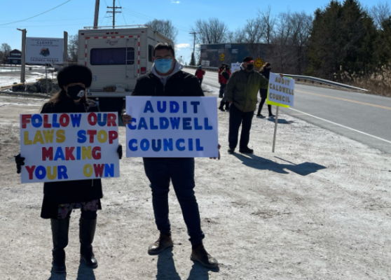 Caldwell First Nation protest in Leamington on March 76, 2021 (Photo courtesy Ian Duckworth)