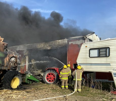 Fire crews respond to the scene of a blaze on Union Line near Dresden. April 27, 2021. (Photo courtesy of Chatham-Kent Fire and Emergency Services via Twitter)