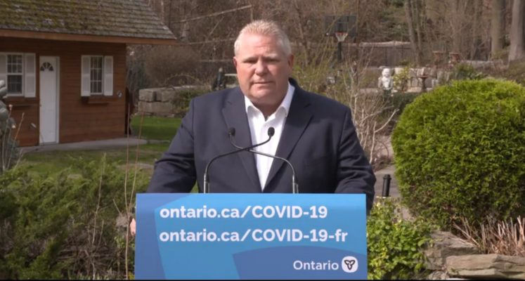 Premier Doug Ford addresses the media while isolating following an exposure to COVID-19. Blackburn News photo.