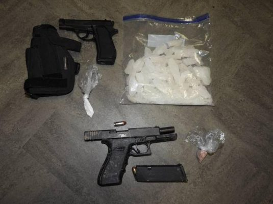 Guns and drugs seized following a traffic stop in Sarnia. April 2021. (Photo provided by Sarnia Police Service)