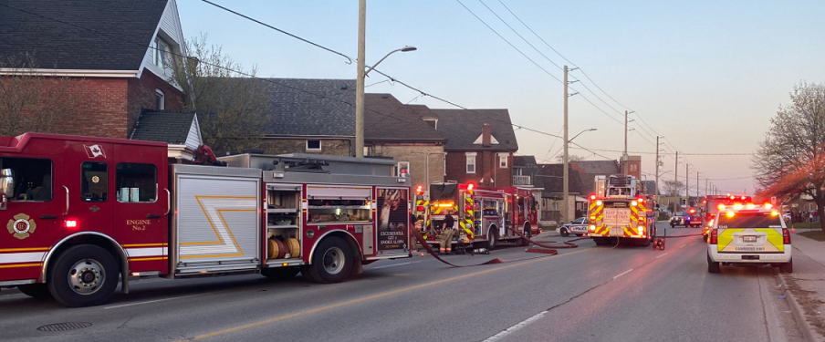 Emergency crews on scene of a basement fire at 256 Hamilton Road. Photo courtesy of the London Fire Department.