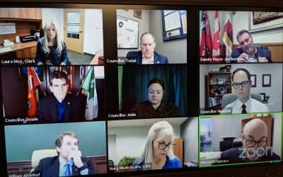 Tecumseh Town Council participates in a special meeting via Zoom, April 8, 2021. Image from Zoom.