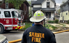 Sarnia fire and police at the scene of a structure fire on College Avenue South in Sarnia. 28 April 2021. (Photo provided by Sarnia Fire Rescue)