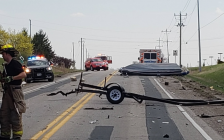 Debris from a collision on Oil Heritage Road outside Petrolia. April 2021. (Photo provided by Lambton OPP)