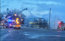 Photo of the fire at Paula's Fish Place on Point Pelee Drive, April 1, 2021 courtesy of Rob Spring.