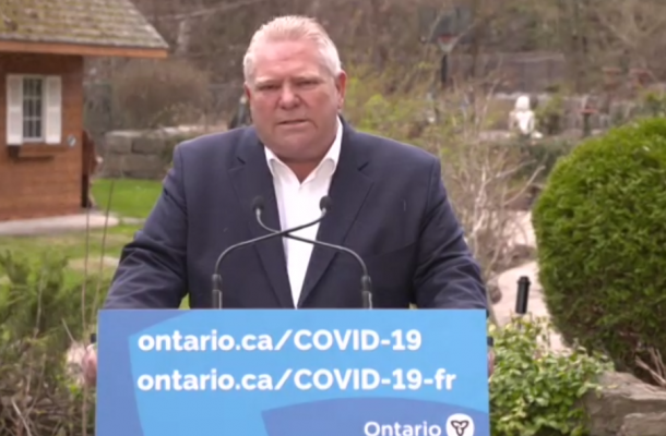 Premier Doug Ford addresses the media on April 22, 2021. (Screen shot from Zoom)
