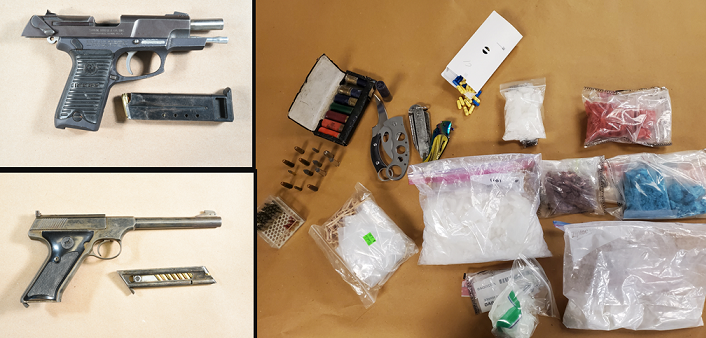 Two guns and a variety of drugs seized from a vehicle and a home on Gatewood Road, April 15, 2021. Photo courtesy of London police.