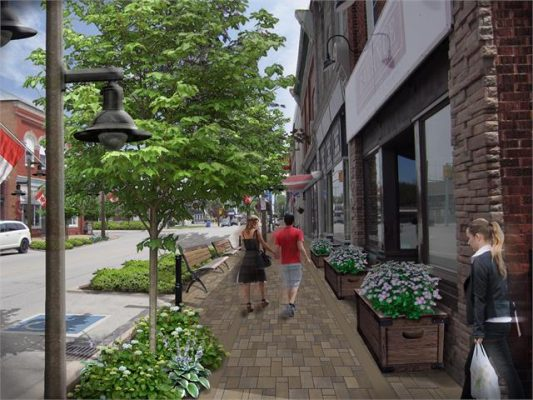 An artist's rendering of the streetscape project in Harrow. Image provided by Town of Essex.