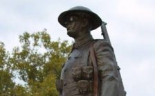 The rifle was removed from this Veterans Park war memorial in Sarnia Apr. 6, 2021 (Photo from Sarnia Police Service)