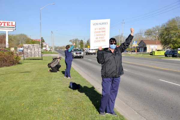 VON Sarnia-Lambton employees on strike outside the Sarnia VON office on London Line. 1 May 2021. (Submitted photo)