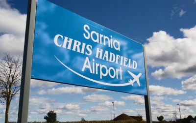 The sign in front of Sarnia's Chris Hadfield Airport. (Photo from the City of Sarnia's facebook page)