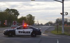 A Sarnia Police cruiser blocks-off a section of London Line near Modeland Road. 7 May 2021. (BlackburnNews.com photo by Colin Gowdy)