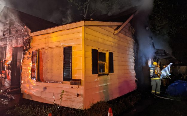 Scene of a house fire on Degge Street in Chatham. May 14, 2021. (Photo courtesy of Chatham-Kent Fire and Emergency Services via Twitter)