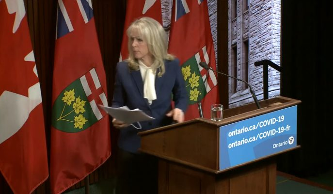 Ontario's minister of long-term care, Merrilee Fullerton, walks out of a news conference on the Long-Term Care COVID-19 Commission's report. Blackburn News Photo.