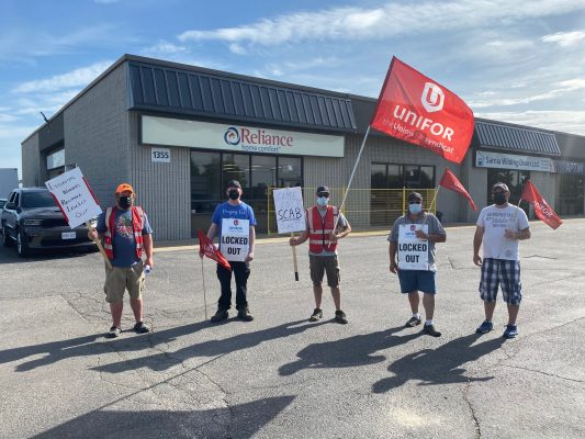 Workers locked out at Reliance Home Comfort on Confederation Street in Sarnia. (From left to right) Plumber Shawn Thomson, Senior Installer Kyle Eades, HVAC Technician Tim Terpstra, HVAC Service Technician Leland Lockrey and Water Heater Installer Dan Douglas. May 19, 2021 Photo by Melanie Irwin