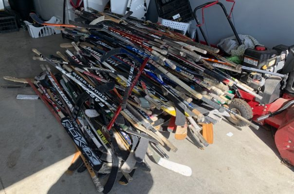 Hockey sticks collected in Chatham-Kent for Hockey Stick Flags (Photo courtesy Ryan McKeon)