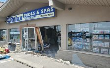 A business damaged by a car crash is seen on Patillo Road in Lakeshore, May 20, 2021. Photo provided by Ontario Provincial Police.