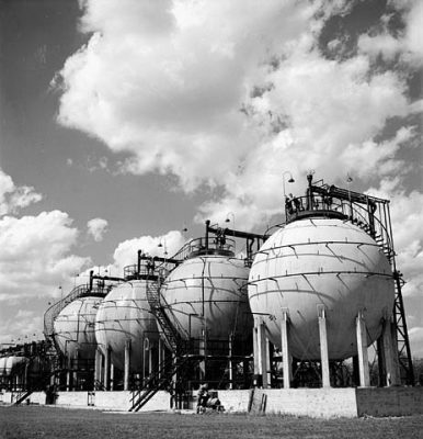 View of Horton Spheres storing butadiene and styrene, two chief ingredients of buna-S synthetic rubber at the Polymer Corporation plant. September 1944/ (Photo by Ronny Jaques. National Film Board of Canada)