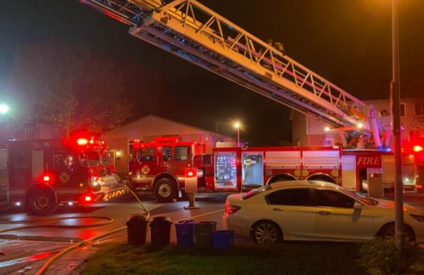 Fire crews battle a blaze on Bonaventure Drive on Tuesday, May 4, 2021. Photo courtest of the London Fire Department.