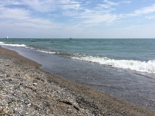 The waters of Lake Erie are seen along the beach in Erieau on August 24, 2014. (Photo by Ricardo Veneza)