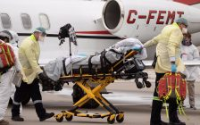 Lambton EMS transfers COVID-19 patient from Manitoba to Bluewater Health. (Photo via supplied by Bluewater Health.)