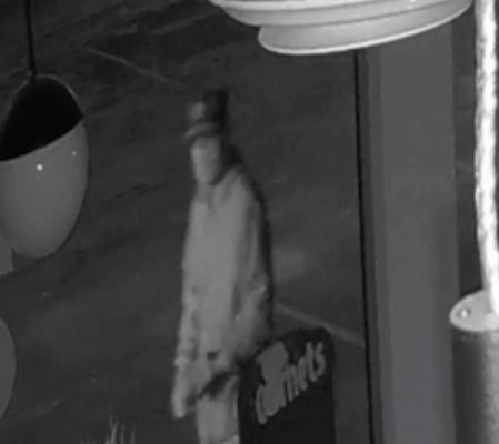 A surveillance camera image shows a suspect in a break-and-enter at Slinky's Ice Cream in Tecumseh, June 8, 2021. Image courtesy Slinky's/Facebook.