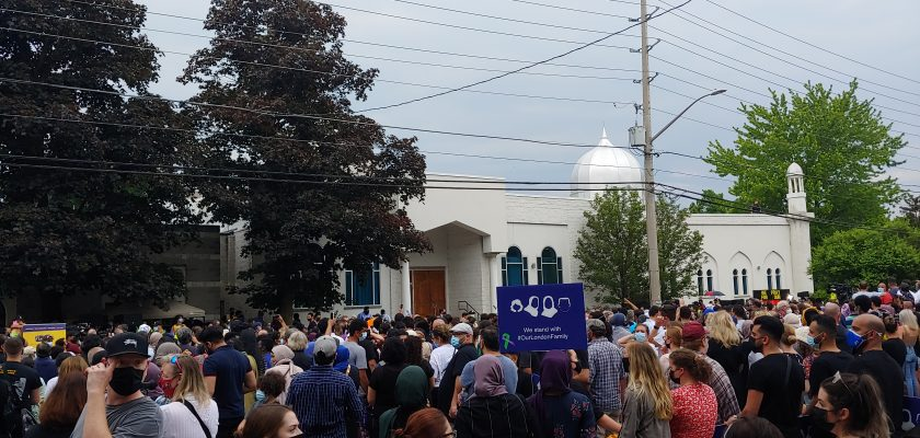 Thousands of people attend a vigil held at London Muslim Mosque to honour the four out of five family members that were killed in what police believe was a deliberate hate crime. June 8, 2021. (Photo by Craig Needles, Blackburn News)