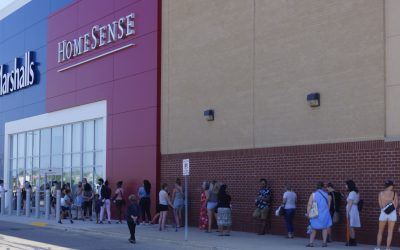 A line of shoppers outside the Marshalls-HomeSense in Sarnia on day one of Ontario's three-phase reopening plan. 11 June 2021. (BlackburnNews.com photo by Colin Gowdy)