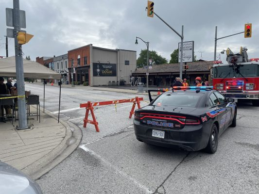 Emergency crews at the scene of a possible gas leak in Wheatley. (Photo courtesy of Chatham-Kent Fire and Emergency Services via Twitter)