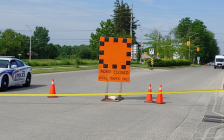 London police block Hyde Park Road and South Carriage Road were several pedestrians were struck by a vehicle, June 7, 2021. (Photo by Craig Needles, Blackburn News)