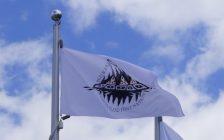 Walpole Island First Nation flag at the Indigenous flag plaza at Sarnia's Bayshore Park (Butterfly Garden). 22 June 2021. (BlackburnNews.com file photo)