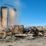 A barn destroyed by fire on Ivan Drive in Middlesex County, June 16, 2021. Photo courtesy of OPP.