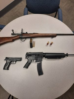 Sarnia police seize weapons and ammunition following an incident on Montrose Street. June 2021. (Photo provided by Sarnia Police)
