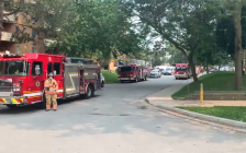 London firefighters and police on scene of an apartment fire at 756 Kipps Lane. July 19, 2021. (Screen capture via @LdnOntFire on Twitter)