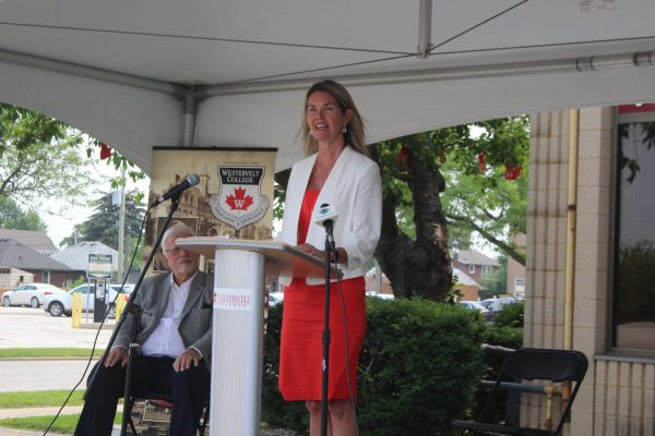 Minister of Colleges and Universities Jill Dunlop speaks at Westervelt College in Windsor, July 20, 2021. (Photo by Maureen Revait)