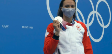 LaSalle native Kylie Masse takes secures a silver medal at the Tokyo Olympics in the women's 100-metre backstroke. (Capture via CBC Sports Livestream)