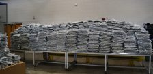A seizure of over 2,500 pounds of marijuana is displayed at the Fort Street Cargo Facility in Detroit, July 26, 2021. Photo submitted by US Customs and Border Protection.