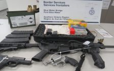 Weapons seized by CBSA officers at the Blue Water Bridge. July 2021. (Photo from Twitter)