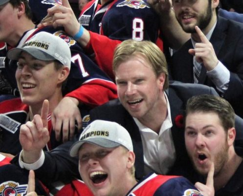 Former Windsor Spitfires video coach Sean DeMuynck is pictured with team members during the Spitfires 2017 Memorial Cup celebration at the WFCU Centre. Photo from Windsor Spitfires.