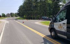 Elgin County OPP investigate a crash involving a van and a motorcycle in Central Elgin. July 22, 2021. (Image via OPP)