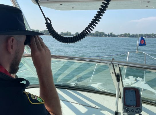 The OPP search the water of Lake Erie near Rondeau for a missing swimmer, August 28, 2021. (Photo courtesy of the OPP via Twitter)