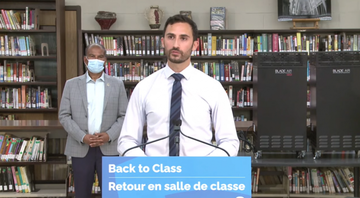 Education Minister Stephen Lecce announces funding for improved ventilation in schools, August 4, 2021. (via YouTube)